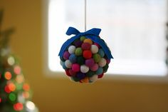 diy wool ball kissing ball