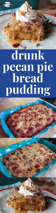 pecan pie bread pudding is AHHMAZING! rich, decadent and boozy, this bread pudding recipe is a dang good dessert recipe!this pecan pie bread pudding is AHHMAZING! rich, decadent and boozy, this bread pudding recipe is a dang good dessert recipe! Holiday Desserts, Fun Desserts, Holiday Recipes, Christmas Recipes, Trifle Desserts, Pudding Desserts, Pudding Recipes, Pudding Ideas, Best Dessert Recipes