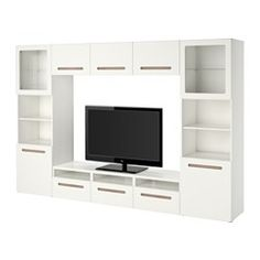 IKEA - BESTÅ, TV storage combination/glass doors, Marviken white clear glass, drawer runner, soft-closing, , The drawers and doors close silently and softly, thanks to the integrated soft-closing function.This TV storage combination has plenty of extra storage and makes it easy to keep your living room organized.It's easy to keep the cords from your TV and other devices out of sight but close at hand, as there are several cord outlets at the back of the TV bench.The cable outlet at the top…