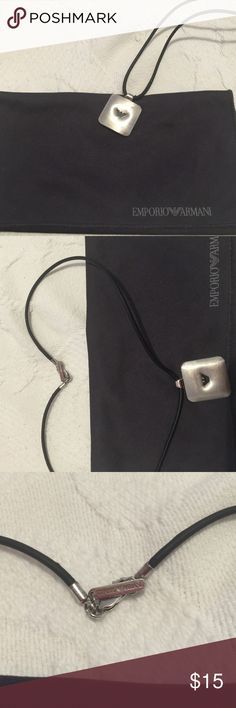 Emporio Armani necklace Emporio Armani unisex necklace, black rubber band. Double side, perfect for everyday wear. Double sided, pre own with usual wear. It comes in dust bag, BUNDLE & SAVE 15% ❌TRADES ❌ Emporio Armani Accessories Jewelry