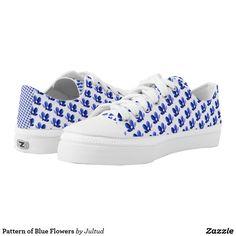 Pattern of Blue Flowers Low-Top Sneakers