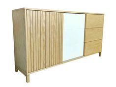 Buffet en bois largeur 120cm avec 2 portes et 2 tiroirs vintage