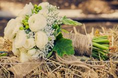 I Want The Jute Wrapped Bouquet, But Add Some Aqua Ribbon As Well As A Little Corral To The All White Flowers; Not Roses! :)