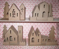 Two Putz Village Kits Assortment of 3 Houses 1 Church by Amy Smith Christmas Paper, Christmas Projects, Christmas Home, Holiday Crafts, Christmas Mantles, Christmas Glitter, Victorian Christmas, White Christmas, Christmas Trees