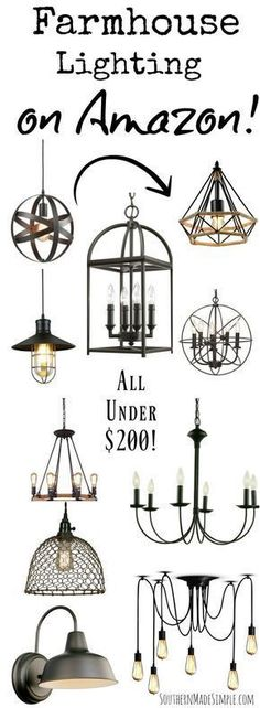 Farmhouse Style light fixtures under $200 - all available on Amazon! Gorgeous, fixer upper inspired home decor on a budget!