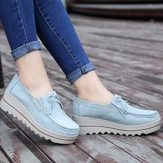 Women's Leather Platform Slip on Loafers Comfort Moccasins Shoes – Ultra Seller Comfortable Boots, Comfy Shoes, Casual Shoes, Fashion Shoes, Fashion Accessories, Boots For Sale, Buy Shoes, Women's Shoes, Mode Style