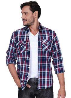 COMPRE AQUI: Camisa Masculina Xadrez Azul Colombo