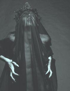 Ggoth gothic high fashion crown veil claws religious dark fashion claw nails gothic fashion veiled haute goth dark style dark veil dark queen avant garde goth witchy fashion religious fashion black chiffon silkspiders •