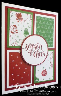 This quick and easy Christmas Card is great for using up scraps of Cardstock and Designer Paper. This card features Stampin' Up!'s Be Merry Designer Series Paper and the Season of Cheer Stamp Set.