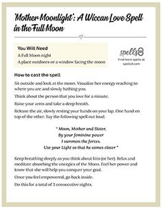 'Mother Moonlight': A Wiccan Love Spell Without Ingredients Wicca Love Spell, Love Spell Chant, Wish Spell, Wiccan Spell Book, Wiccan Spells, Wiccan Witch, Spell Books, Candle Spells, Easy Love Spells