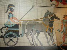Greek Pattern, Ancient Greece, Cross Stitch Patterns, Giraffe, Moose Art, Diagram, Embroidery, Sewing, Animals