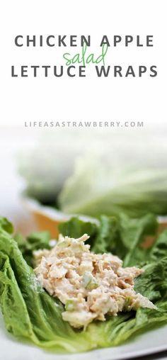 Lettuce Wrap Recipes, Chicken Salad Recipes, Lettuce Wraps, Healthy Salad Recipes, Fruit Recipes, Strawberry Recipes, Turkey Recipes, Summer Recipes, Recipe Chicken