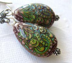 Polymer mood bead earrings sterling silver blue rust green gold paisley swirls dangle earrings drop style bohemian earrings -New Horizons-