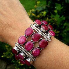 Chunky raw red Ruby gemstone bracelet - Silver Filled - July Birthstone Jewellery gift
