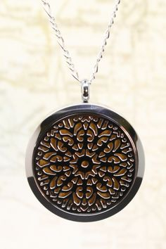 """""""Burst"""" Filigree Stainless Steel Diffuser Necklace- 22"""" Sterling Chain"""