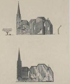 Gottfried Böhm, Saarlouis, Katholische Pfarrkirche, St. Ludwig, 1965-70, Ansicht und Schnitt, 68 x 52 cm. Foto: Deutsches Architekturmuseum, Frankfurt