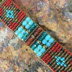 Red & Green Woven Beaded Bracelet: Chili Rose Beadz