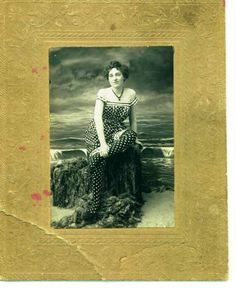 grayce thornburg (my great grandfather's sister) santa monica, california, 1906.  i want that for my next bathing suit !   ;)  p.s. that's real seaweed & she commented that it stank !
