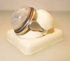 Sterling Silver Moonstone Ring With Teardrop Accents