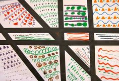 Line and Pattern- This lesson first had kindergarten students focus on horizontal, vertical and diagonal line designs. Then the students used their new knowledge about shape and pattern to create some beautiful abstract designs