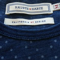 Above is a close up of the H&H tags on our Spot-On tee. We believe that good design is always hiding in the details. From our carefully hand-crafted tags to the top-quality stitching on each garment, at Hauste & Harte we strive for perfection, especially when it comes to the small things. www.hausteandharte.com  #details #devilisinthedetails #tags #denimwash #dischargeprint #dots #californiabydesign #mensfashion #menswear #ss2016 #garmentwash #tee #stitching #quality