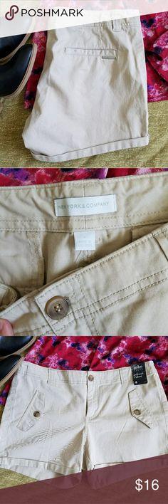 New York & Company girlfriend shorts Brand new, never worn khaki Soho shorts. Perfect for a casual weekend outfit. New York & Company Shorts