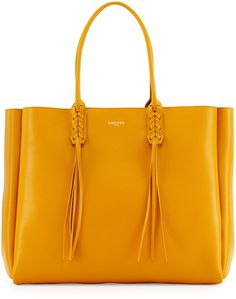 Lanvin Leather Fringe Tote Bag, Yellow