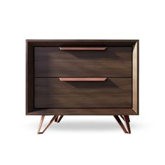 Sleek, modern, and beautifully crafted, the Lomita Collection embodies Midcentury Modern design with refined, updated features to fit the 21st century.-Soft-closing drawers for silent and easy use -Espresso wood veneer with anodized copper accentsDimensions: 21