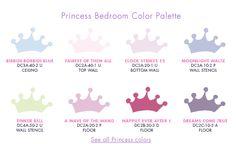 Princess Paint Pallette Bedroom Colour Palette, Bedroom Colors, Princess Painting, Kids Room Paint, Disney Colors, Big Girl Rooms, Blue Bedroom, Happily Ever After, Color Palettes