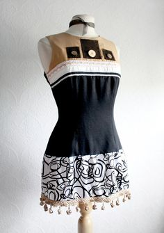 Upcycled Mod Top Women's Black Blouse Eco by BrokenGhostCouture, $59.00
