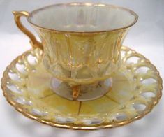 Royal Sealy lemon Lustre Tea Cup and Saucer