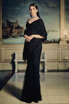 Buy Elegant Bridal Black Sequin Saree SFIN120 #bridalsaree