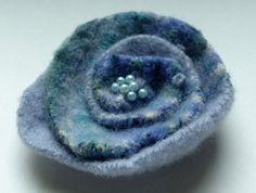 Lavender Feted Wool Flower Brooch Pin by WoolenBlooms on Etsy