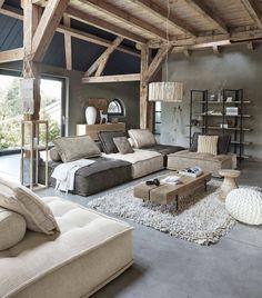Love this contemporary, boho wabi sabi style mix interior, via Painted Concrete Floors, Painting Concrete, Wabi Sabi, Concreate Floors, Concrete Interiors, Family Room Furniture, Look Boho, Boho Living Room, Farmhouse Interior
