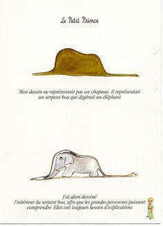 ...il mio disegno non era il disegno di un cappello era il disegno di un boa che digeriva un elefante.  Affinche' vedessero chiaramente che cos'era, disegnai l'interno del boa. Bisogna sempre spiegargliele le cose, ai grandi. Le petit prince