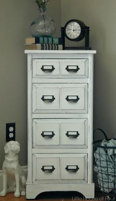 Turn an ordinary piece of furniture into a faux card catalog!