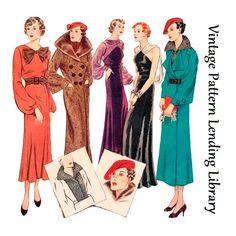 1935 Ladies Seven Piece Ensemble Reproduktion Schnittmuster # 1930s Fashion, Art Deco Fashion, Retro Fashion, Vintage Fashion, Ladies Fashion, Women's Fashion, Fashion Design, Dinner Gowns, Evening Dresses