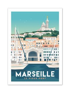"""€25 . Affiche Marcel MARSEILLE """" Le Vieux Port """" . Papier 350g/m² Couché Mat"""