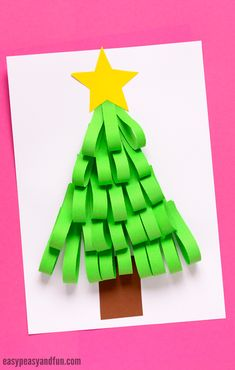 Paper Strips Christmas Tree Craft, make this with kids at home or in the classroom. Great Christmas bulletin board idea too!