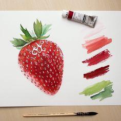 Beautiful realistic watercolor oil painting strawberry Art by: Strawberry Drawing, Strawberry Art, Watercolor Painting Techniques, Painting & Drawing, Watercolor Paintings, Watercolors, Watercolor Illustration, Botanical Drawings, Botanical Art