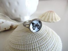 Butterfly ring  Framed glass ring in antique by pinkdiamonddesign