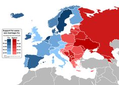 Support for same-sex marriage in Europe.