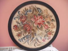 Antique victorian floral needlepoint tapestry berlinwork embroidery picture