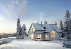 Et stemningsfullt hus med store vindusflater og kjøkkenet plassert i hjertet av boligen.