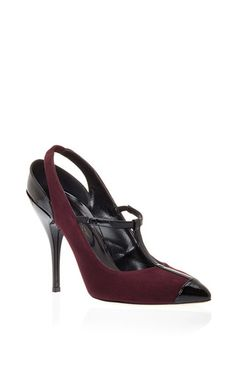 bordeaux slingbacks w/ a black leather t-strap from Oscar de la Renta's fall 2015 collection -- new creative director Peter Copping