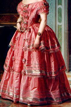 warpaintpeggy:  INCREDIBLE DRESSES IN ART (106/∞)Portrait of a Lady by Ángel María Cortellini, 1855