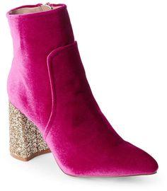 betsey johnson Magenta Velvet Kacey Glitter Heel Booties #ad