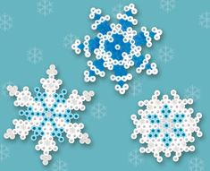 Winter Snowflakes Crafts Using Hama Beads. Melty Bead Patterns, Pearler Bead Patterns, Perler Patterns, Beading Patterns, Beading Tutorials, Bracelet Patterns, Embroidery Patterns, Knitting Patterns, Crochet Patterns