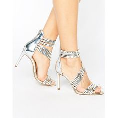 Carvela Girl Silver Leather Strappy Heeled Sandals ($85) ❤ liked on Polyvore featuring shoes, sandals, silver, ankle strap sandals, silver ankle strap sandals, silver shoes, leather ankle strap sandals and strappy heeled sandals