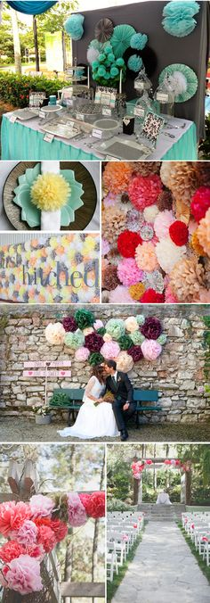Ideas para decorar tu boda con pompones de papel